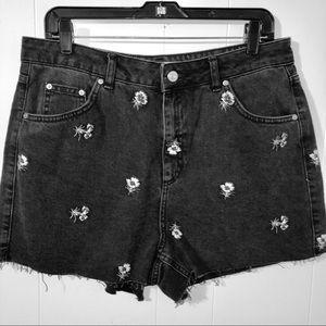 Topshop moto floral embroidered mom black shorts